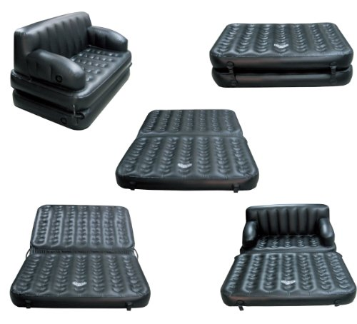 5 In 1 Black PVC Non Velvet Air Multipurpose Doublebed Kids Sleeping Mattress Travel Lounge Seat with Electric Pump 3 Seater Inflatable Sofa