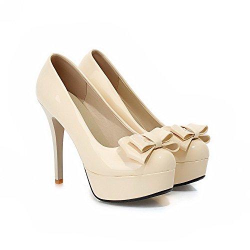 AllhqFashion Damen Ziehen Auf Pu Leder Rund Zehe Rein Stiletto Pumps Schuhe Cremefarben