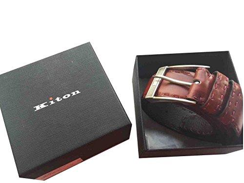 kiton-argent-925-boucle-de-ceinture-en-cuir-de-vachette-marron-750-ceinture-main-46-120