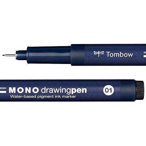 Tombow WS-EFL01 MONO - Pennarello a punta fine, tratto 01, colore: Nero