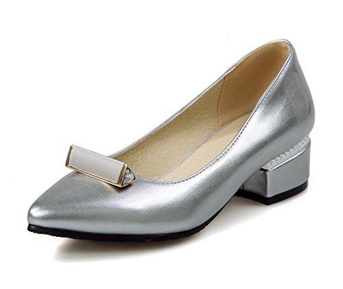 AllhqFashion Femme Pu Cuir à Talon Bas Pointu Mosaïque Tire Chaussures Légeres Argent