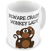 Beware Crazy Monkey Lady Novelty Gift Mug