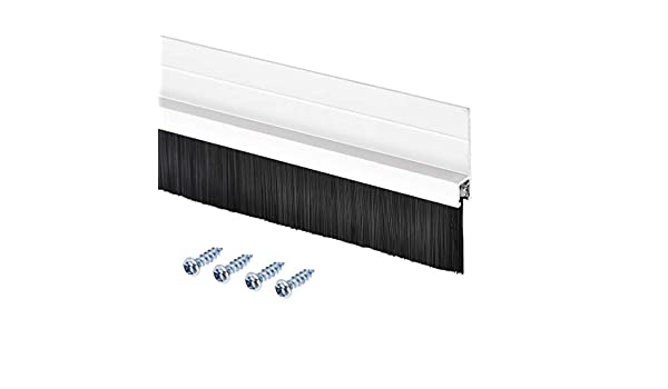 Approx 39.37-inch x 1.81-inch 1000mm x 46mm uxcell Door Bottom Sweep Silvery H-Shape Aluminum Alloy Holder W 0.98-inch PP Nylon Soft Brush