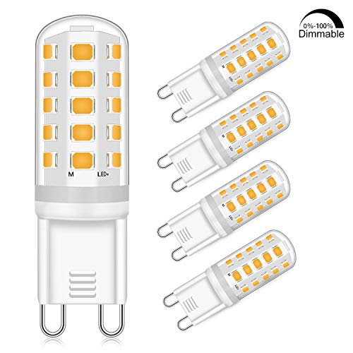 G9 LED Dimmbar Leuchtmittel 5W Ersatz für 40W 50W Halogenlampe - Warmweiß 2700K Led glühbirnen - G9 Sockel Led Birne Lampe, 400LM,AC 220-240V, 4er Pack