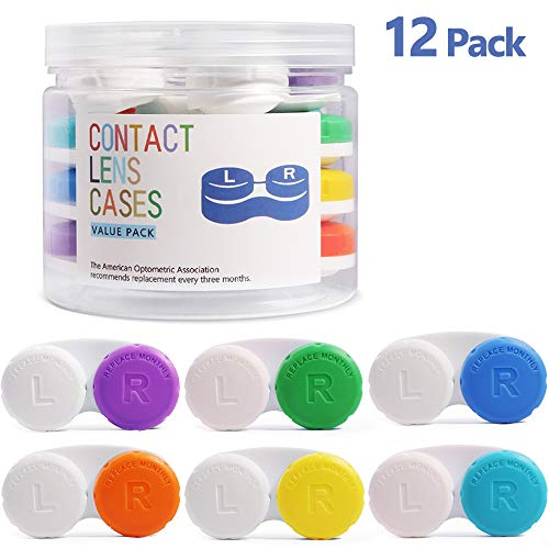 Estuche Lentillas 12 pack, Opret Caja de Lente de Contacto Portatil para Viaje Tamano de Bolsillo con un Tarro de Almacenamiento (6 Colores)