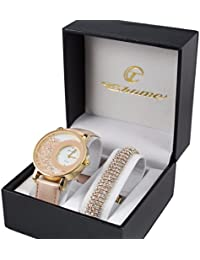 Reloj de pulsera para mujer con correa de piel en rosa y dorado + pulsera color oro con brillantes Dolce Vita