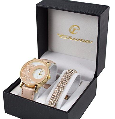 Elegante orologio da donna in pelle rosa oro + Bracciale Colore Oro Diamante dolce vita