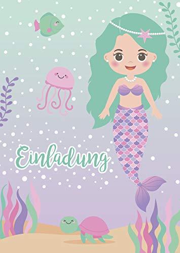 Kreatives Herz Meerjungfrau Nixe Einladungskarten zum Kindergeburtstag (10er Set) Einladungen Unterwasserwelt A6 Kinder Party Mädchen