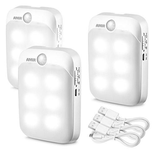AMIR LED Nachtlicht, LED Bewegungsmelder Licht, USB Wiederaufladbar Nachtlicht, AUTO/ON/OFF Lichter mit Licht sensor für den Schrank oder die Flur, Schlafzimmer, Küche, Camping, Grill, etc.