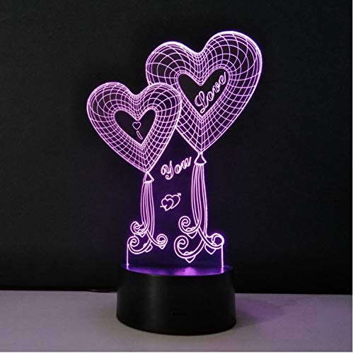 Valentine Es Day Decorations Led Night Light 3d Optical Illusion Tabletop Lamp Love Hearts Luminaria Led Veilleuse Usb Nightlamp (Alles In Einem Table-top-computer)