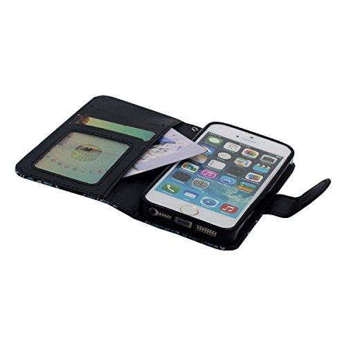 Rabat Portefeuille Carte Titulaire iPhone SE Coque, Mignonne Tortue Motif, multi Function PU Cuir iPhone 5 5S Housse Etui Protection Noir