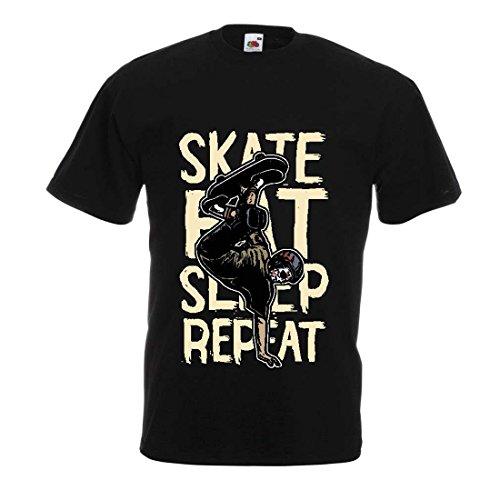 lepni.me Männer T-Shirt Eat-Sleep-Skate-Repeat Fro Skateboard Liebhaber, Skateboarder Geschenke, Skateboarden Kleidung (Large Schwarz Mehrfarben) Keine Andere Gay Film