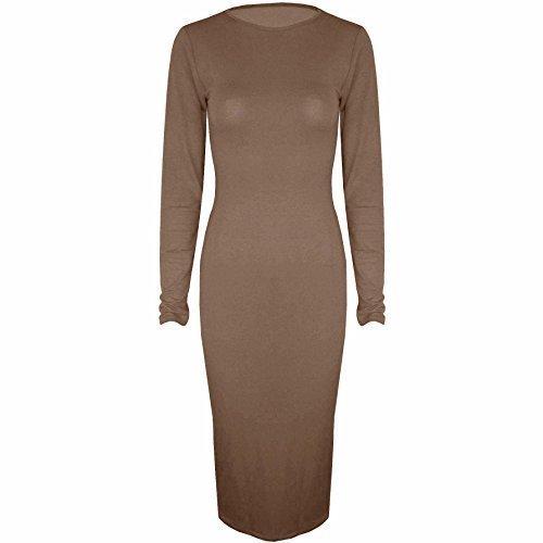 Be geloso - elastico teir Jersey a maniche lunghe collo aderente con scollatura rotonda paccs dell'abito Moka