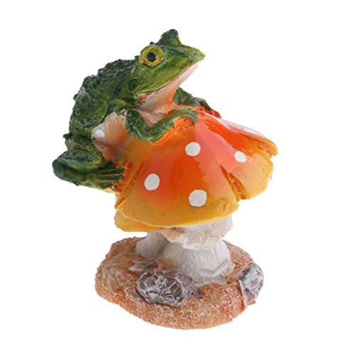 FLAMEER Résine Fée Jardin Ornement Miniature Décor à La Maison - Orange Grenouille
