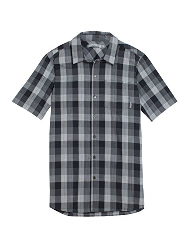 Icebreaker Herren Funktionshemd Departure II Short Sleeve Shirt Plaid, Jet HTHR/Monsoon/Snow, S, 103260 (Erwachsene Mens T-shirt Lightweight)