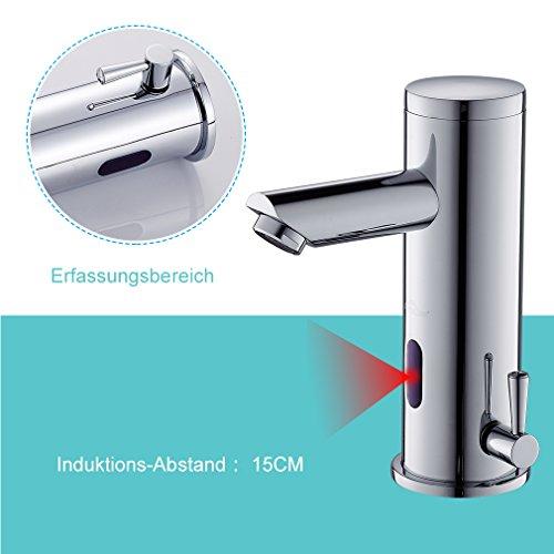 Auralum - Grifo automático para lavabo, grifo monomando para baño con sensor de infrarrojos, latón cromado, agua fría y agua caliente
