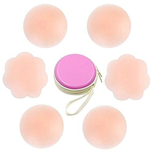 Aisprts Nippel-Abdeckung Silikon Brustwarzenabdeckung Brust Aufkleber selbstklebend und wiederverwendbar Nippel Cover Pads (3 Paare) (2 Pairs Round 1 Pair Flower)