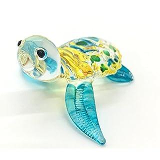 HAND BLOWN Art Glass,Sea Turtle Miniature Animals Collection, Dollhouse Miniatures,Turtle Art Glass Blown, By Amata Kufu Elegant, (N0016).