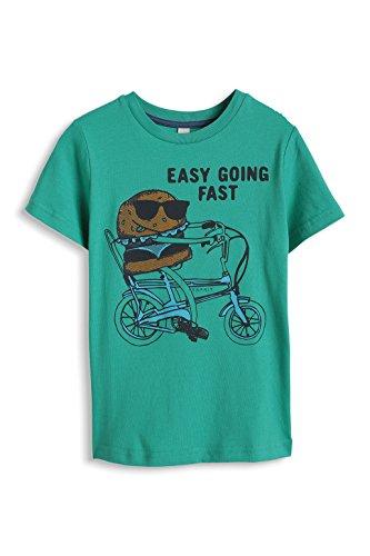 ESPRIT Jungen T-Shirt mit Motiv und Schriftzug, mit Print, Gr. 104 (Herstellergröße: 104/110), Grün (SMARAGD 383)