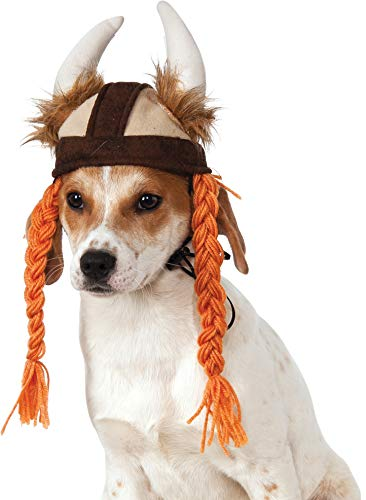 Rubies Disfraz Company - Gorro de Vikingo con Trenzas para Mascotas