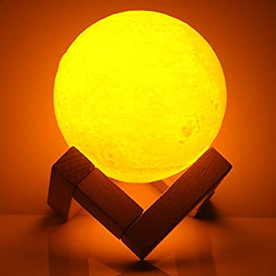 Full Moon Lamp 3D LED Night Modern Floor Lamp Dimmable Touch Control Brigntness USB Charging White/Warm Light luna moon lamp With Stand 8cm
