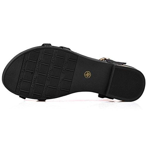 COOLCEPT Femme Mode Sangle de Cheville Sandales Bout Ouvert Slingback Plat Chaussures Noir