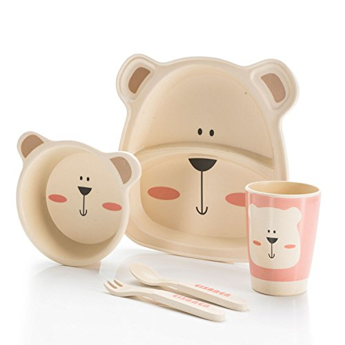 all Kids United Kindergeschirr-Set aus Bambus-Geschirr für Kinder Kindergeschirrset aus Bambus Set 5-teilig; Bär