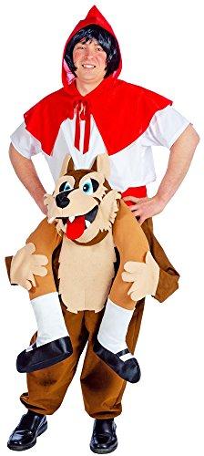 Carry Me Rotkäppchen mit Wolf Kostüm - Lustiges XL Pick Me Up Aufsitz Kostüm für Karneval, Festival, Junggesellenabschied oder Mottoparty