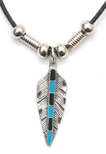 western-express-collier-pendentif-country-native-american-plume-metal-turquoise-cordon-cuir-made-in-