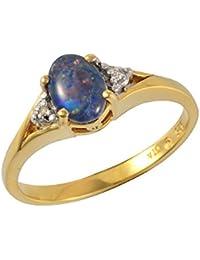 Bague - 253R3852-01/925 - Femme - Argent Plaqué Or 9 Cts 2.066 Gr - Opale/Diamant