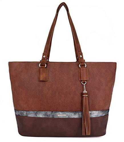 David Jones - Bolso de Mano Shopper Mujer Grande - Tote Bag Cuero PU Lona Impermeable - Bolsos de...