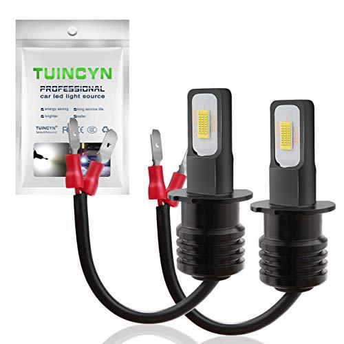 TUINCYN extrêmement Lumineux H3 LED Feu de Brouillard Ampoule Blanc 6500 K 3200lumens 3570 Csp-Chips Circulation diurnes/DRL (Lot de 2)