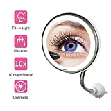 HUAJIE Specchietti da Trucco con Montaggio a Parete a LED con Forte Ventosa e ingrandimento 10x Rotazione di 360 Gradi per Prodotti Cosmetici estensibili