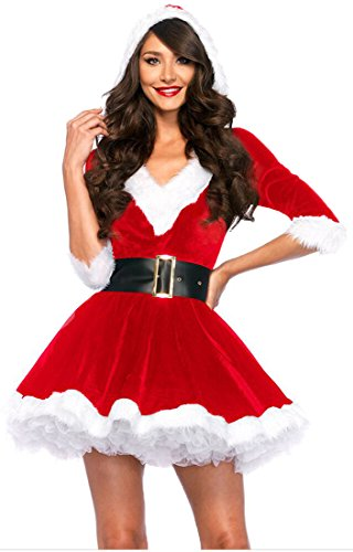 eiten Sexy V-Auschnitt Weihnachtsmann Kostüm Elfe Weihnachten Santa Weihnachtsfrau Damen Outfit Rot LC7278 (Damen-santa Anzug)