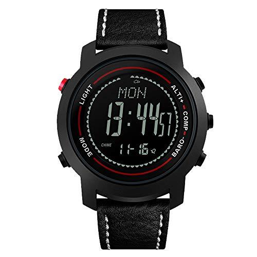 Smartwatches SPOVAN Herren Climb Mountain Mulitifunctions Sport-Armbanduhr mit Echtleder-Band-Kompass/Pacer/Wasserdicht/LED-Hintergrundbeleuchtung,A -