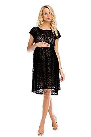 Mutterschafts Kleid Umstands Kleid Scarlett Spitze schwarz-beige M (medium) Umstandsmode von MY TUMMY ®©™