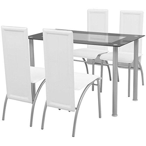 Festnight 5tlg. Set Essgruppe Set Esstisch + 4 Essstühle Esszimmertisch Küchenstuhl Esszimmer Sitzgruppe Weiß -