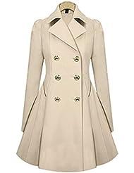 Hrph Gabardina larga rompevientos mujeres otoño invierno de la cintura delgada caliente clásico abrigos de manga larga sobretodo delgado