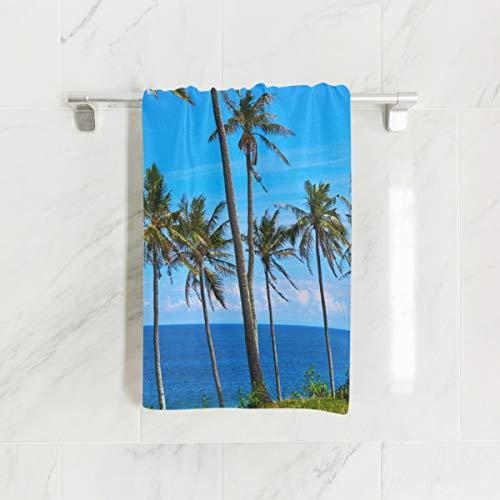 Ahomy Handtücher, 38 x 76 cm, Palmen, tropischer Strand, Mehrzweck-Handtücher, extra saugfähig, für Bad, Hand, Gesicht, Fitnessstudio und Spa -