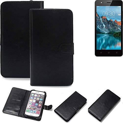 K-S-Trade® 360° Wallet Case Handyhülle Für TP-LINK Neffos C5A Schutz Hülle Smartphone Flip Cover Flipstyle Tasche Schutzhülle Flipcover Slim Bumper Schwarz, 1x