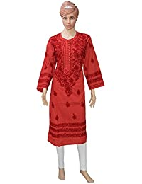 Lucknowi Chiken Dot-printed Red Kurti With Hand Embroidery Kashmiri Work Style With Free Slips.