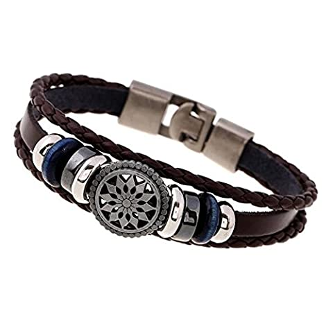 A Herren GüRtelschnalle Leder Strick Retro Leder Armband (20 * 1cm) , brown (1 Oval-türkis-armband)