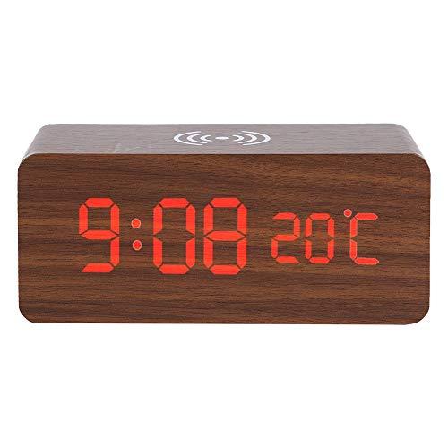 SMAERTHYB Led De Madera Reloj Despertador Digital De Escritorio Temperatura De Control De Voz Cargador Inalámbrico para Reloj De Escritorio del Teléfono Reloj De Escritorio Digital