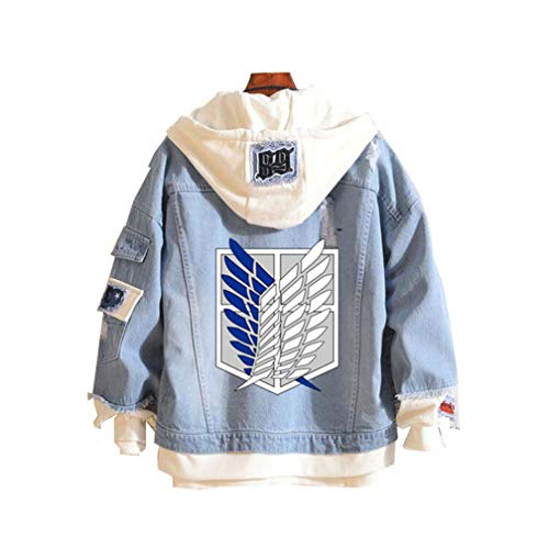 Cosstars Attack on Titan AOT Anime Hoodie Jeansjacke Unisex Cosplay Denim Jacket Outwear Mäntel 1 M Hoodie Jacke Mantel
