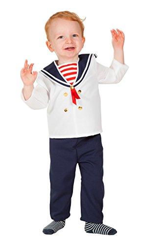 The Fantasy Tailors Matrosen-Kostüm Klein-Kinder Matrosen-Hemd mit Kragen weiß dunkel-blau Hose Kapitän Cäptn Anker Karneval Fasching Hochwertige Verkleidung Fastnacht Größe 98 Weiß/Blau