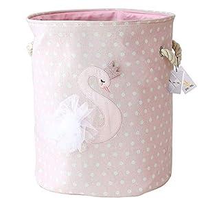 Znvmi Wäschekörbe Kinder Spielzeug Organizer Faltbare Groß Lagerung Aufbewahrungskorb Baby Wäschesammler Wäschesack - Schwan/Rosa