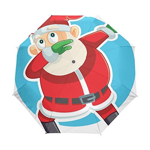 Compact Travel Regenschirm Funny Dabbing Santa Claus Auto Open Close Regenschirm Windproof Anti-UV