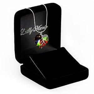 Eine Silberkette aus 925 Silber mit original Swarovski® Elements Herz Anhänger, mehrfarbig, 18 mm, mit Schmucketui, ideal als Geschenk für Frau oder Freundin