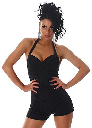 P.F. Damen Neckholder-Badeanzug einfarbig im eleganten Design Schwarz