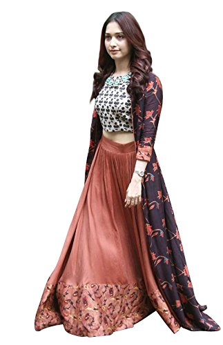Rozy Fshion Peach & Purple Printed Party Wear Indo-Western Suit